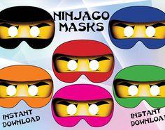 Descarga inmediata - partido de Ninjago de máscaras, cumpleaños de Ninjago, Ninjago, invitación de Ninjago, imprimible