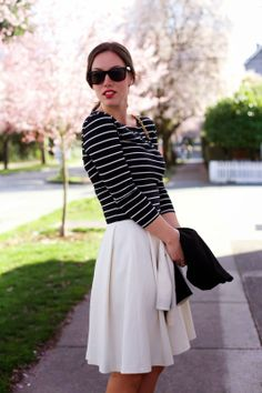 Stripes, pleats & a touch of red #springstyle