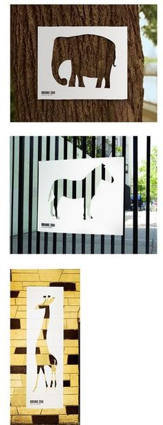 Bronx Zoo, uses cut-outs and textures that already existed for signage to find animals. I especially love the zebra.