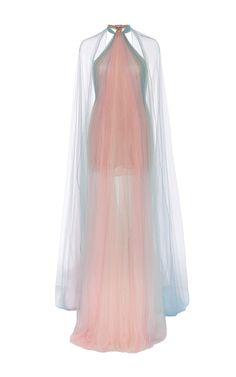 MARCHESA Halter Neck Draped Gown