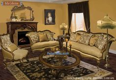 Cream Brown Chinelle Suite Victorian Living Room Colors Designs
