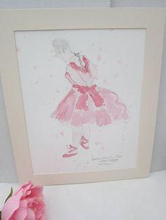 Ballerina in Pink after Degas watercolour painting original