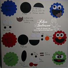 Punch Art Sesame Street Characters - Cookie Monster, Elmo, Oscar the Grouch - bjl