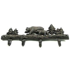 Cast Iron Black Bear Wall Mount Coat Hook: Bear Wall HookMeasures: Cast iron Wall Hook Bear with Cub in rust color. Great for cabins and rustic decor. Measures 3 H. x 1 W. Towel Hooks, Coat Hooks, Bear Mounts, Black Bear Decor, Cast Iron, It Cast, Rustic Lake Houses, Wood Daybed, Wood Home Decor