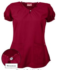 Butter-Soft Scrubs by UA™ Keyhole Neck Top w/ Rhinestone Detail Bring out your inner fashionista with this adorable keyhole scrub top! Cute Nursing Scrubs, Scrubs Pattern, Scrubs Outfit, Uniform Advantage, Scrub Jackets, Womens Scrubs, Diy Couture, Work Jackets, Costume