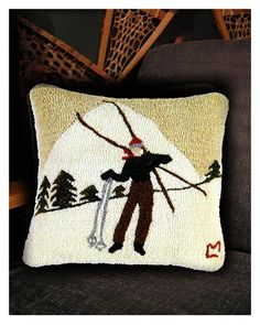 "ski home decor items | Ski Break"" Wool Pillow"