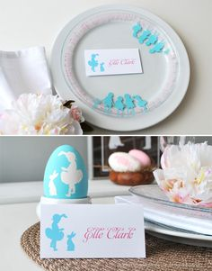DIY Tutorial: Easter Silhouette Plates & Bowls By Hostess With the Mostess -- see more at LuxeFinds.com