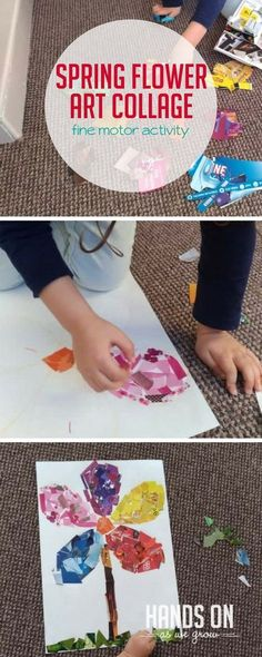 A spring flower art collage will help build fine motor and planning skills! via @handsonaswegrow