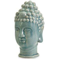 Taibei Ceramic Buddha Head (1.575 RUB) ❤ liked on Polyvore featuring home, home decor, fillers, decor, blue, blue home decor, ceramic home decor, asian statues, home decorators collection and buddha home decor
