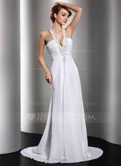 Wedding Dresses - $168.99 - A-Line/Princess Halter Sweep Train Chiffon Wedding Dress With Ruffle Lace Beading Sequins (002012134) http://jjshouse.com/A-Line-Princess-Halter-Sweep-Train-Chiffon-Wedding-Dress-With-Ruffle-Lace-Beading-Sequins-002012134-g12134