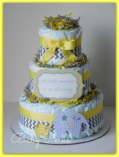 Baby of Mine. Diaper Cake  yellow and Grey Baby Shower  by MsPerks, $49.99