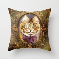 The Cheshire Cat Throw Pillow by foxfires Down Pillows, Throw Pillows, The Cheshire, Poplin Fabric, Pillow Inserts, All The Colors, Decor Styles, Color Pop, Zipper