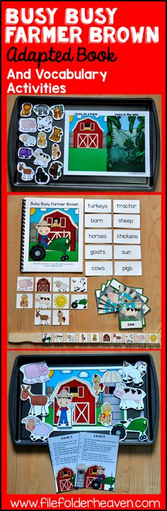 """""""Busy Busy Farmer Brown drives his tractor round and round! It now includes an updated adapted book and 4 new vocabulary extension activities that focus on sequencing, classification, labeling, and positional concepts! Cookie Sheet Activities, Farm Activities, Vocabulary Activities, Language Activities, Hands On Activities, Spring Activities, Therapy Activities, Farm Animals Preschool, Preschool Themes"""