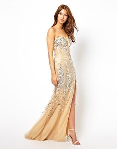 Forever Unique Jewelled Maxi Dress in Nude $441.22