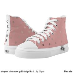 elegant, clear rose gold foil polka dots pattern High-Top sneakers