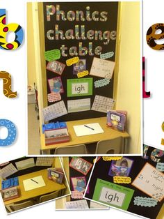 Phonics challenge table just the picture pixels Ks1 Classroom, Year 1 Classroom, Early Years Classroom, Classroom Design, Phonics Display, Literacy Display, Literacy Stations, Primary Teaching, Teaching Phonics
