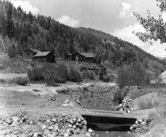 Footbridge that spans across squirrel creek in Bonanza Colorado, photo taken in the early 1950's.