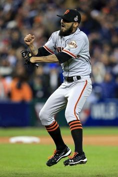 Sergio Romo #54 of the San Francisco Giants celebrates striking out Miguel Cabrera to win 2012 World Series