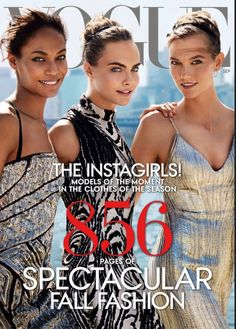 Joan Smalls, Cara Delevingne and Karlie Kloss photographed by Mario Testino for Vogue US September 2014