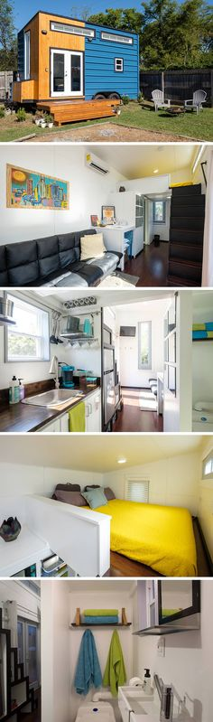 The Nashville Tiny House has a modern, minimalist design with clean lines, white space, and high ceilings.  The 185-sq.ft. custom-built house is sustainably made from recycled wood on a restored trailer.