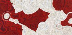 Betty Kuntiwi Pumani  465-14 Antara,  2014 acrylic on linen 100 x 200 cm