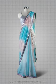 Baby Blue and Pink Chiffon Sari by Twenty Five Centimeters