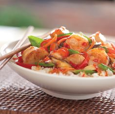 SPICY SHRIMP AND SCALLOP STIR-FRY - MADE WITH FRANK'S REDHOT SWEET CHILI SAUCE & COCONUT MILK.