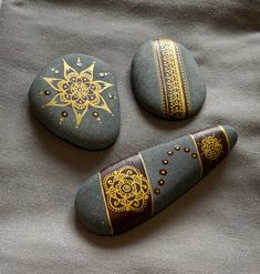 Set of 3 Hand-Painted Stones One of a kind Mandala painted Stone Art Painting, Dot Art Painting, Pebble Painting, Pebble Art, Mandala Painted Rocks, Mandala Rocks, Painted Stones, Rock Painting Patterns, Rock Painting Designs