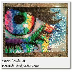 Rainbow eye hama perler bead art by Ursula LR Perler Beads, Hamma Beads 3d, Perler Bead Art, Fuse Beads, Pearler Bead Patterns, Perler Patterns, Pixel Art, Melty Bead Designs, Pixel Beads