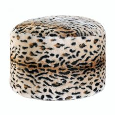Let your wild side show! This fuzzy and comfortable ottoman is covered in snow leopard print, which can really liven up your living room or den. Sit back and pu