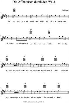 Die Affen rasen durch den Wald (Kinderlied)