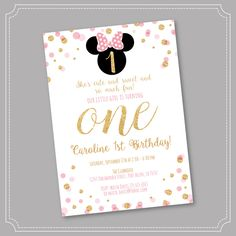 20% OFF Pink and Gold Minnie Mouse Birthday Party Invitation, First, 1st Birthday, Gold Glitter, Polka Dot invite, Girl, Printable by Stickearte on Etsy https://www.etsy.com/listing/483215219/20-off-pink-and-gold-minnie-mouse