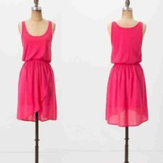 Lilka for Anthropologie Pink Dress Sz. M Lilka for Anthropologie Sleeveless Dress. Hot Pink, Cotton. Size Medium. Elastic at Waist. Good Condition. Anthropologie Dresses