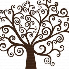 Tree Clip Art - Whimsical Swirl - Family Tree Silhouette - Digital  - Commercial Use Graphics - Finger Print Tree - DIY Guest Books