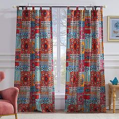 Bohemian Boho Window Treatments Tab Top Lined Curtains Panels Hippie Mandala Polyester Washable 84 inch Length Pair Set of Red Blue - Electric colors with Bright tones to harmonize a chic Hippie bedroom or living room decor Sheer Curtain Panels, Lined Curtains, Curtain Sets, Window Panels, Sheer Curtains, Window Curtains, Hippie Curtains, Hippie Bedding, Bedroom Curtains