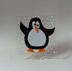Penguin Fused Glass Plate.