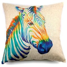 Top Look! Colorful, Artistic Zebra Print Linen Cushion Cover