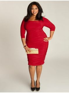 Felina Dress in Crimson This fully lined Felina Dress creates a polished—yet seductive—appearance. It has generous half-reglan 3/4 sleeves and flattering ruching throughout the body and skirt. Complement the rich red color with shimmery golden pumps and accessories.