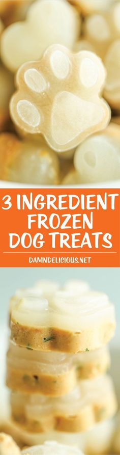 3 Ingredient Frozen Dog Treats 3 Ingredient Frozen Dog Treats – Seriously the easiest treats EVER using chicken stock and peanut butter! And the parsley works as a breath freshener too! Puppy Treats, Diy Dog Treats, Homemade Dog Treats, Dog Treat Recipes, Dog Food Recipes, Dog Popsicles, Diy Pet, Food Dog, Frozen Dog Treats