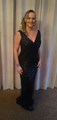Twist front sequinned evening dress