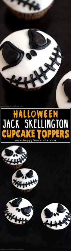 How to make Halloween Jack Skellington Cupcake Toppers. Easy cake/cupcake decorating tutorial! | happyfoodstube.com