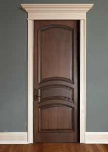 I have been unsure about having interior stained doors with white trim and gray walls, but I do like this. White doors or stained doors? Dark Doors, The Doors, Front Doors, Front Entry, Panel Doors, Screen Doors, Custom Interior Doors, Interior Design, Brown Interior Doors