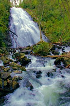Crabtree Falls on the Blue Ridge Parkway in the North Carolina mountains.  #waterfall guide at http://www.romanticasheville.com/crabtree_falls.htm