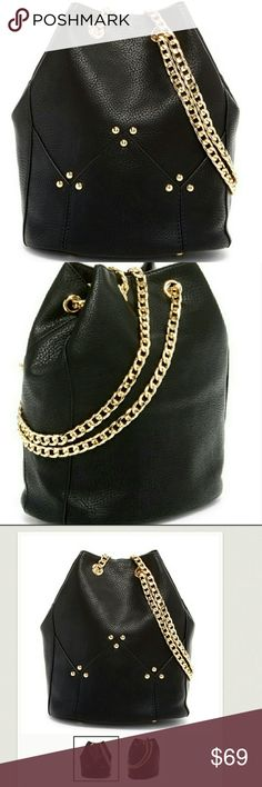 "BUCKET CROSSBODY BAG Featuring an ever trending bucket shape and eye catching link Chain shoulder strap this standout bag finishes your ensemble in bold style  Dual adjustable chain shoulder strap  Drawstring closure  Exterior features gold tone hardware  Approx. 9.75?6.5w ?6.75 d Approx. 12"" handle drop, 12-25"" strap drop PU exterior, fabric lining boutique  Bags"