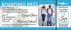 Updated boarding pass save the date magnet design;  Good option if you have a lot of out of town wedding guests.