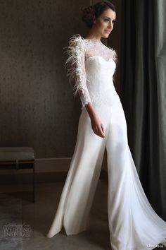 orkalia couture fall 2014 long sleeve wedding dress with feather accents