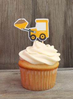 Construction Party - Set of 12 Yellow Bulldozer Cupcake Toppers by The Birthday House