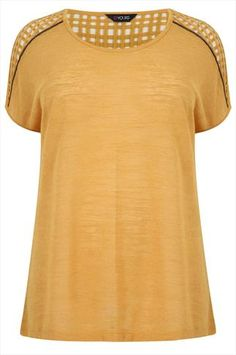 Mustard Short Sleeve Top With Lattice Shoulder Detail and Chain Trim