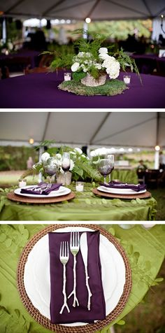 woodland wedding table! Love these twiggy utensils and the purple and green scheme! Sweet Violet Bride - http://sweetvioletbride.com/2013/12/north-carolina-fern-filled-woodland-wedding-the-beautiful-mess/