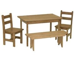 Amish Maple Wood Kids Dining Table Set Snack time, craft time, play time, reading time and more can all be hosted by this cute and durable play set made of solid and strong maple wood.